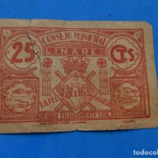 Billetes locales: BILLETE LOCAL. CONSEJO MUNICIPAL LINARES. 25 CTS.. Lote 171531900
