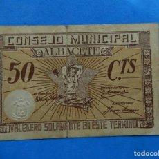 Billetes locales: BILLETE LOCAL.CONSEJO MUNICIPAL ALBACETE. 50 CTS. 1937. Lote 171692317