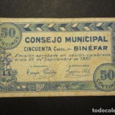 Billetes locales: 50 CÉNTIMOS DEL CONSEJO MUNICIPAL DE BINEFAR DE 1937. Lote 172026223