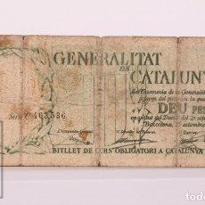 Billetes locales: BILLETE GUERRA CIVIL GENERALITAT DE CATALUNYA - 10 PESETAS, SERIE C, NUMERADO - AÑO 1936 - RC-. Lote 172211964