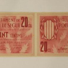 Billetes locales: BILLETES 20 CÉNTIMOS POBLA DE SEGUR (LLEIDA) PAREJA SIN CORTAR NI NINGÚN NÚMERO SERIE . VER FOTOS. Lote 173838229