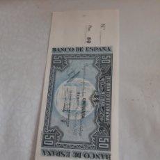 Billetes locales: BILBAO REPÚBLICA ESPAÑOLA 50 PESETAS CON MATIZ SIN CIRCULAR CAJA AHORROS MONTE PIEDAD. Lote 173955975
