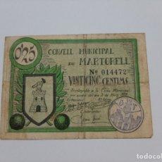 Billetes locales: F 1641 BILLETE AYUNTAMIENTO DE MARTORELL 25 CENTIMOS T-1651. Lote 174143465