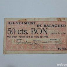 Billetes locales: F 1642 BILLETE AYUNTAMIENTO DE 50 CENTIMOS BALAGUER MARZO 38 T-342. Lote 174146588