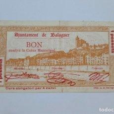 Banconote locali: F 1272 BILLETE AYUNTAMIENTO 1 PESETA DE BALAGUER AGOSTO 38 T-343. Lote 174148855