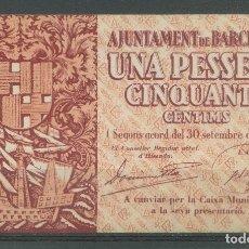 Billetes locales: BARCELONA. *UNA PESSETA CINQUANTA CÈNTIMS 1937* Nº A 265424.. Lote 174305410