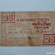 Billetes locales: F 1504 BILLETE AYUNTAMIENTO D' ARTES 25 CÉNTIMOS T-277. Lote 174473313