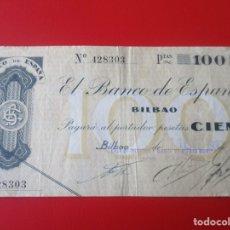 Billetes locales: BANCO DE ESPAÑA EN BILBAO. BILLETE DE 100 PESETAS 1936. Lote 175258070