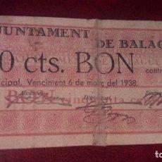 Billetes locales: 50 CÉNTIMOS BALAGUER MARZO 1937. Lote 175455899