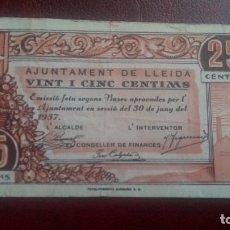 Billetes locales: 25 CÉNTIMOS LLEIDA, LÉRIDA 1937. Lote 175988780