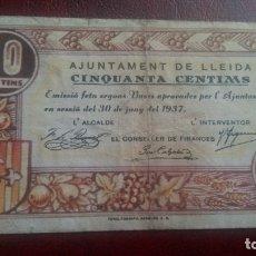 Billetes locales: 50 CÉNTIMOS LLEIDA, LÉRIDA JUNIO 1937. Lote 175988915