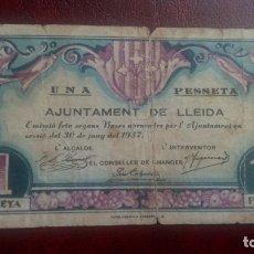Billetes locales: 1 PESETA LLEIDA, LÉRIDA JUNIO 1937. Lote 175989073