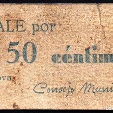 Billetes locales: ENOVA (VALENCIA) - 50 CENTIMOS 1937. Lote 176057683
