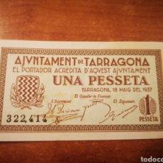 Billetes locales: BILLETE EMISIÓN LOCAL AYUNTAMIENTO DE TARRAGONA 1 PESETA 1937. Lote 176171740