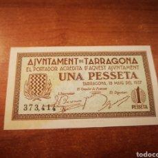 Billetes locales: BILLETE EMISIÓN LOCAL AYUNTAMIENTO DE TARRAGONA 1 PESETA 1937. Lote 176172355