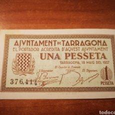 Billetes locales: BILLETE EMISIÓN LOCAL AYUNTAMIENTO DE TARRAGONA 1 PESETA 1937. Lote 176172483
