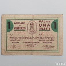 Billetes locales: F 1771 BILLETE 1 PESETA AJUNTAMENT DE VIDRERES T-3159 R. Lote 177209137