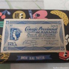 Billetes locales: BILLETE DE 25 CENTIMOS BADAJOZ 1937. Lote 177712072