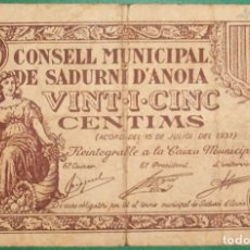 Billetes locales: CATALUÑA/CATALUNYA. 25 CÉNTIMOS. CONSELL MUNICIPAL DE SADURNÍ D´ANOIA (BARCELONA). SERIE A. Lote 177717654