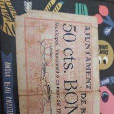 Billetes locales: BILLETE LOCAL DE 50 CENTIMOS BALAGUER. Lote 177720653