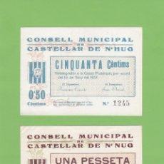 Billetes locales: SÉRIE CONSELL MUNICIPAL DE CASTELLAR DE N'HUG. BERGUEDÀ. 2 BILLETES 0,50 CTS Y 1 PESSETA. HUG. NUG.. Lote 178148014