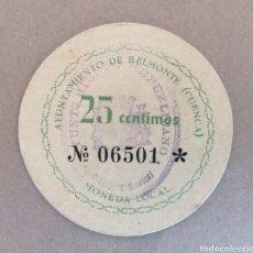 Billetes locales: BELMONTE. CUENCA. 25 CENTIMOS. DISCO CARTULINA. MUY RARO. EBC. Lote 178255603