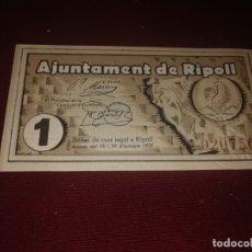 Billetes locales: BILLETE LOCAL. RIPOLL. PESSETA. PESETA. 1937 SC. Lote 178728002