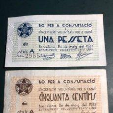Billetes locales: ESTABLIMENTS COL.LECTIVITZATS LIBER 1/50CTS. Lote 179047657