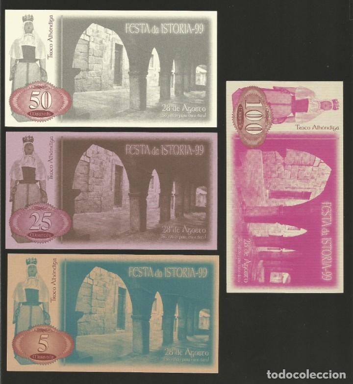 LOTE DE 4 BILLETES -LA VILLA ORENSANA DE RIBADAVIA- FESTA DA ISTORIA, AÑO 1999. (Numismática - Notafilia - Billetes Locales)