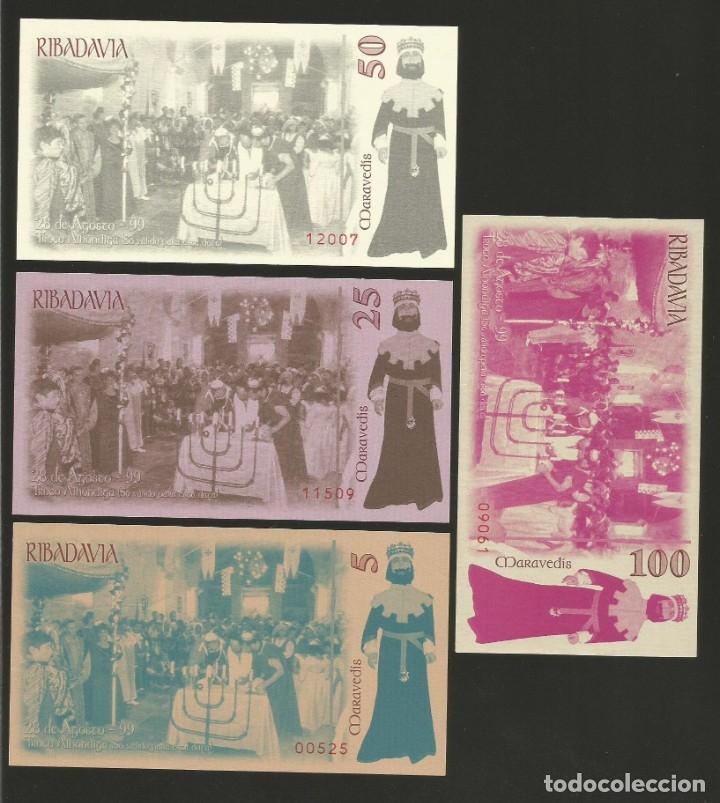 Billetes locales: Lote de 4 billetes -La Villa Orensana de Ribadavia- Festa da Istoria, año 1999. - Foto 2 - 179059360