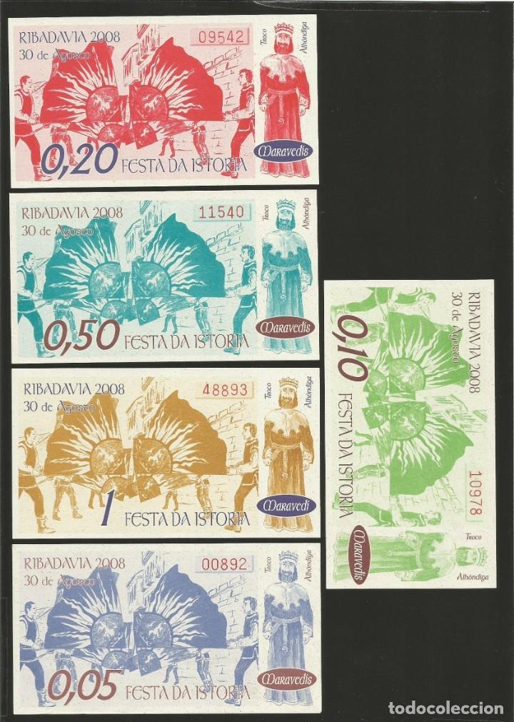 Billetes locales: Lote de 5 billetes -La Villa Orensana de Ribadavia- Festa da Istoria, año 2008. - Foto 2 - 179059537