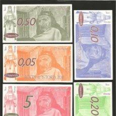 Billetes locales: LOTE DE 6 BILLETES -LA VILLA ORENSANA DE RIBADAVIA- FESTA DA ISTORIA, AÑO 2011.. Lote 179059853