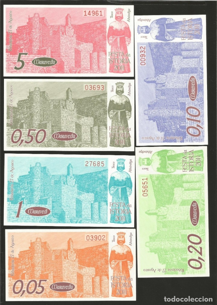 Billetes locales: Lote de 6 billetes -La Villa Orensana de Ribadavia- Festa da Istoria, año 2011. - Foto 2 - 179059853