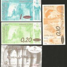 Billetes locales: LOTE DE 4 BILLETES -LA VILLA ORENSANA DE RIBADAVIA- FESTA DA ISTORIA, .. Lote 179061243