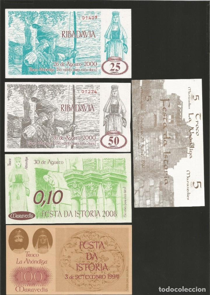 LOTE DE 5 BILLETES -LA VILLA ORENSANA DE RIBADAVIA- FESTA DA ISTORIA, (Numismática - Notafilia - Billetes Locales)