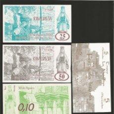 Billetes locales: LOTE DE 5 BILLETES -LA VILLA ORENSANA DE RIBADAVIA- FESTA DA ISTORIA, . Lote 179061520