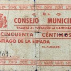 Billetes locales: BILLETE LOCAL CONSEJO MUNICIPAL SANTIAGO DE LA ESPADA ( JAÉN ). 50 CTS.. Lote 179241332