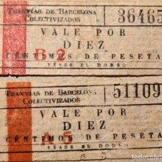 Billetes locales: TRANVÍAS DE BARCELONA - COLECTIVIZADOS - BARCELONA. Lote 179330627