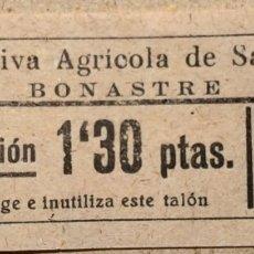Billetes locales: COOPERATIVA AGRÍCOLA DE SAN ISIDRO - BONASTRE. Lote 179331753