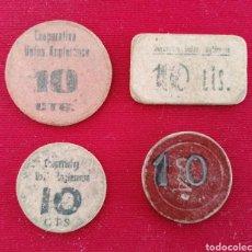 Billetes locales: COOPERATIVA UNIÓN ANGLESENSE. GUERRA CIVIL. LOTE 4 FICHAS DE 10 CÉNTIMOS. CARTÓN DISTINTOS MODELOS.. Lote 179392156