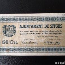 Billetes locales: BILLETE LOCAL 50 CÉNTIMOS SITGES. Lote 179548861