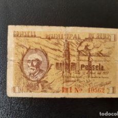 Billetes locales: BILLETE LOCAL 1 PESETA AYUNTAMIENTO DE REUS. Lote 179550298