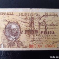 Billetes locales: BILLETE LOCAL 1 PESETA AYUNTAMIENTO DE REUS. Lote 179550486