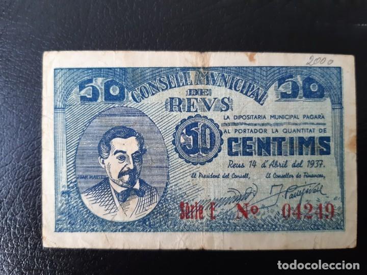 BILLETE LOCAL 50 CÉNTIMOS AYUNTAMIENTO DE REUS (Numismática - Notafilia - Billetes Locales)