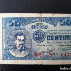 Billetes locales: BILLETE LOCAL 50 CÉNTIMOS AYUNTAMIENTO DE REUS. Lote 179550815