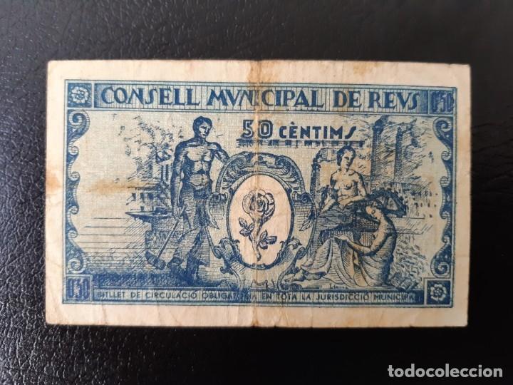 Billetes locales: Billete local 50 céntimos Ayuntamiento de REUS - Foto 2 - 179550815