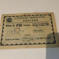 Billetes locales: CONSEJO MUNICIPAL SÁSTAGO 0'50 PESETAS. Lote 180120170