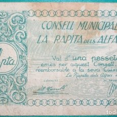 Billetes locales: CATALUÑA/CATALUNYA. 1 PESETA. CONSELL MUNICIPAL DE LA RÁPITA DELS ALFACS (TARRAGONA). GUERRA CIVIL. Lote 180176091