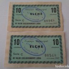 Billetes locales: ELCHE. ALICANTE. LOTE 2 BILLETES 10 CENTIMOS, OCTUBRE 1937. CON SELLOS. Lote 180215973