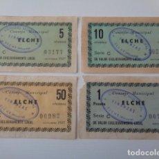 Billetes locales: ELCHE. ALICANTE. LOTE 4 BILLETES DIFERENTES VALORES, OCTUBRE 1937: 5, 10, 50 CENTIMOS Y 1 PESETA. Lote 180216031